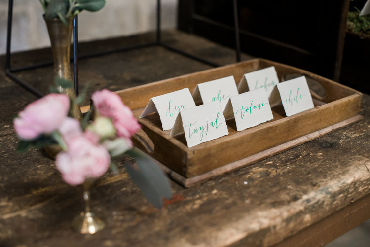 Modern Calligraphy Place Cards on Handmade Paper by Studio Oudizo, Cheltenham