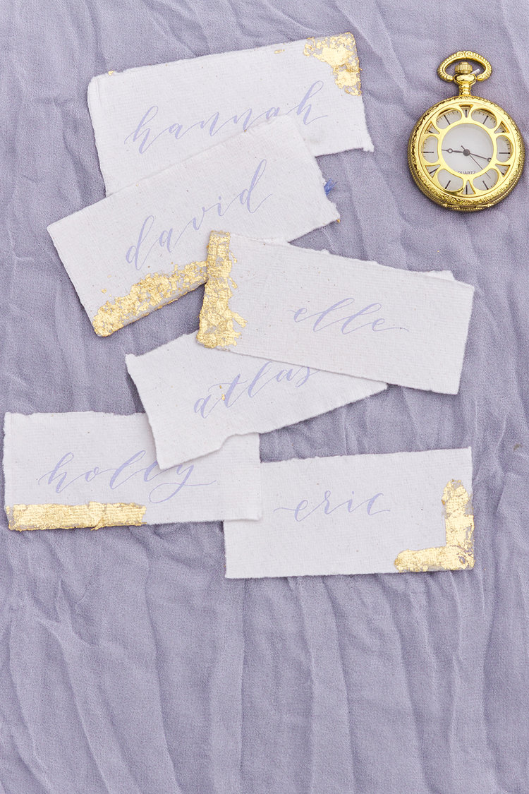 Modern Calligraphy place cards with gold leaf on handmade paper by Studio Oudizo, Cheltenham