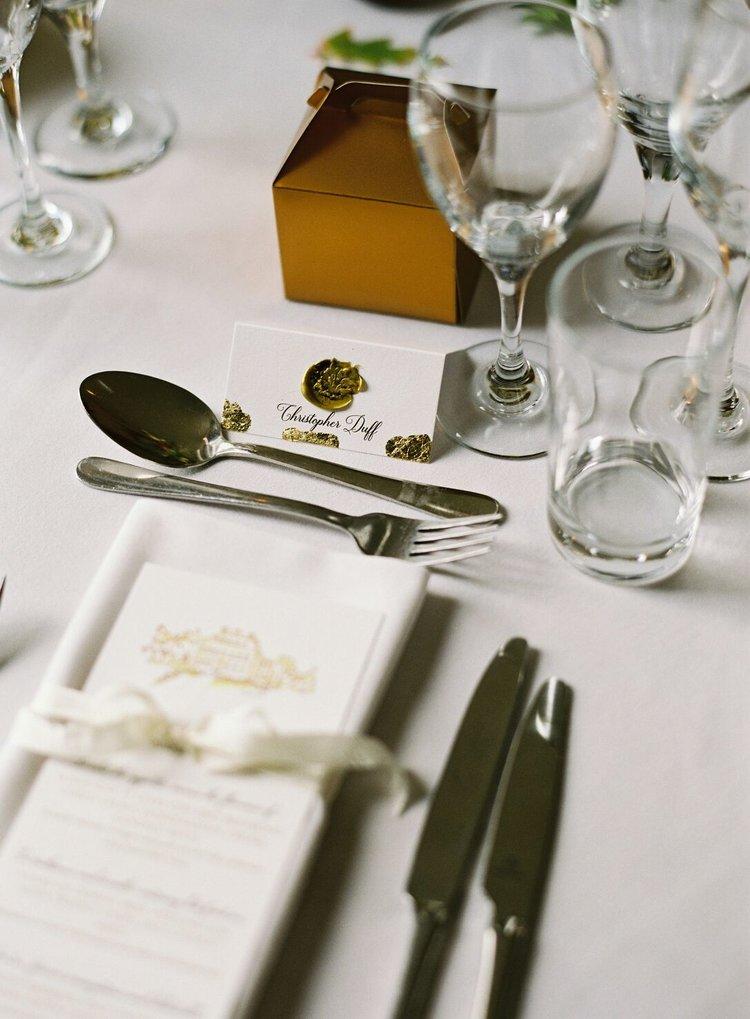 Wedding Menu with Gold Leaf by Studio Oudizo, Cheltenham