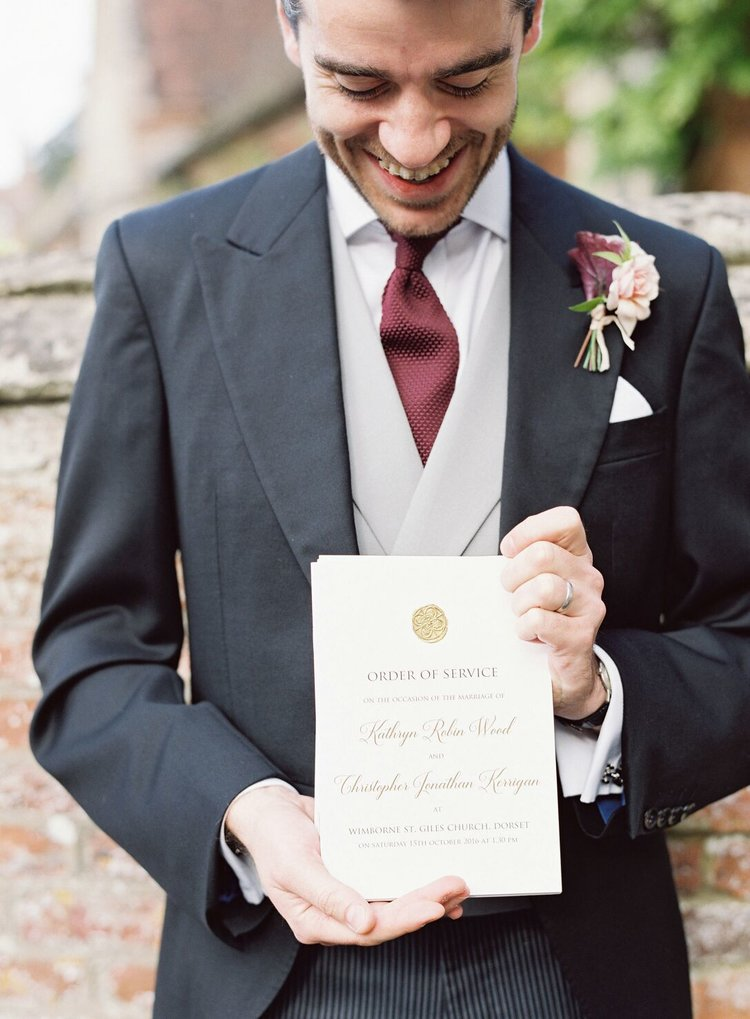 Wedding order of service with wax seal by Studio Oudizo, Cheltenham