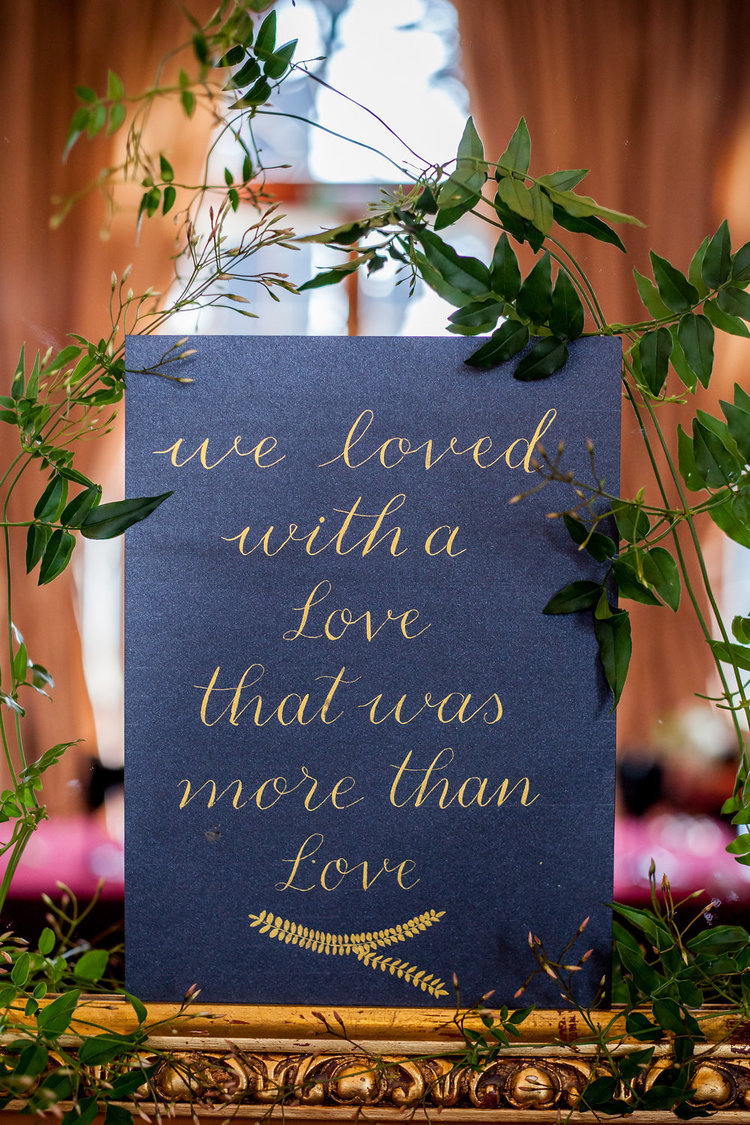Modern Calligraphy Wedding Signage with gold ink on black by Studio Oudizo, Cheltenham