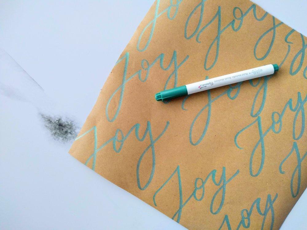 DIY brush calligraphy gift wrap