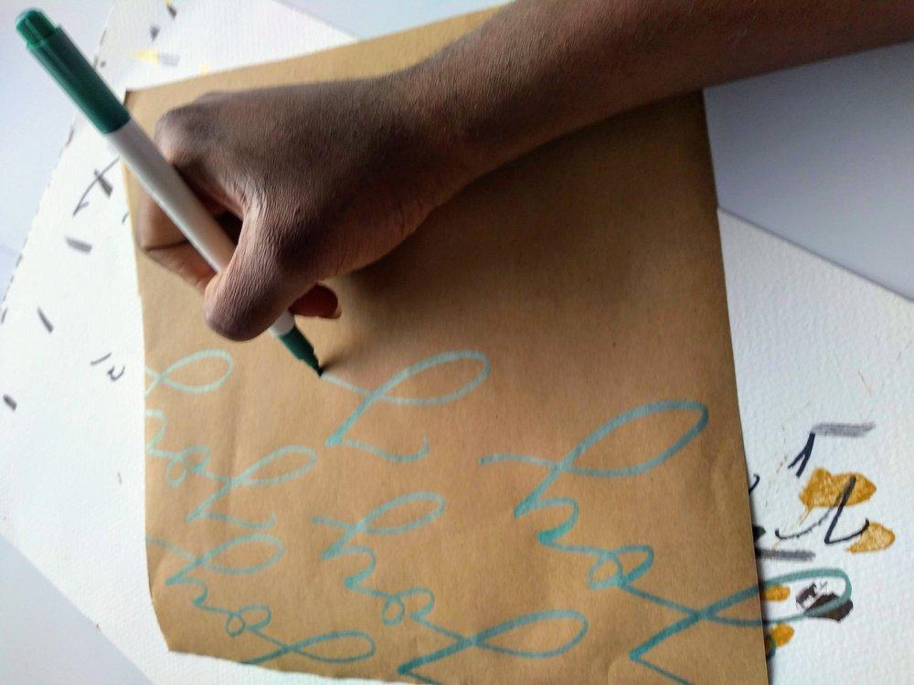 DIY Brush lettering gift wrap