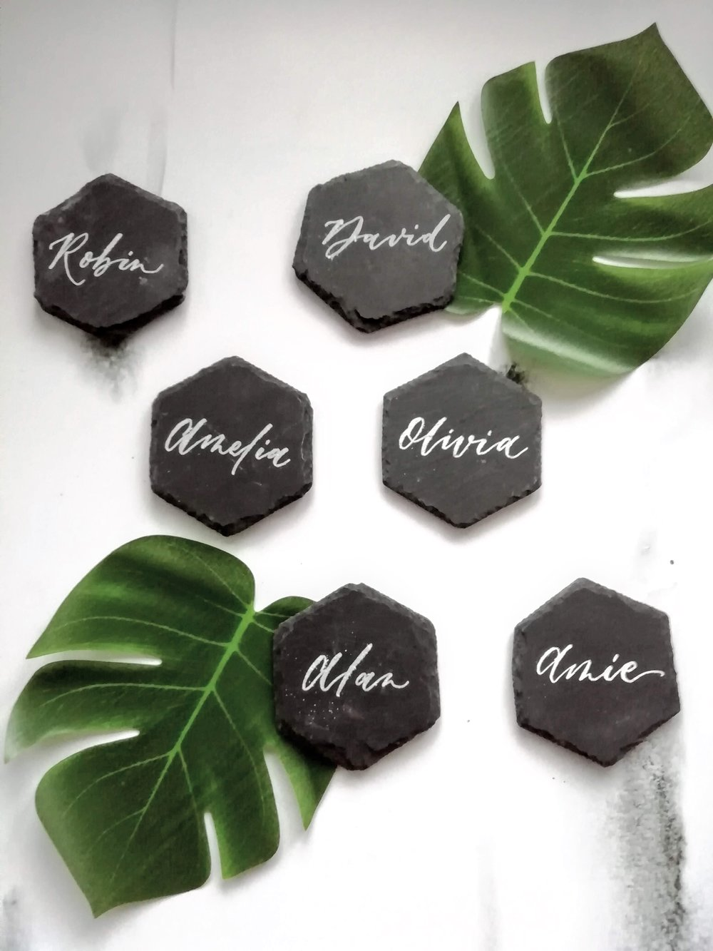 Calligraphy slate Coaster Place Cards