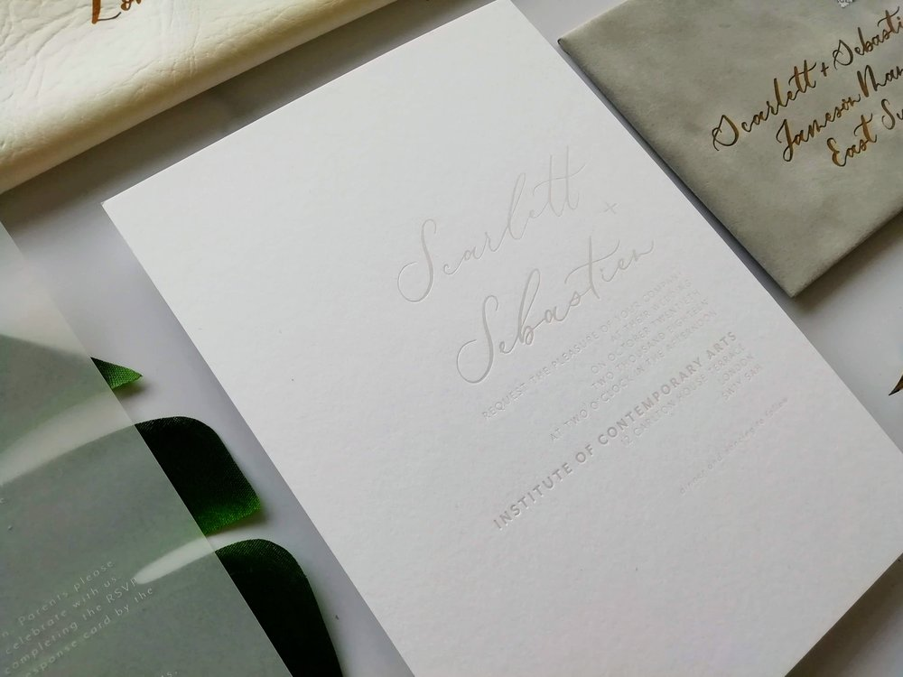 Transparent hot foil printed invitation (optional print upgrade)