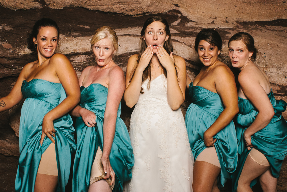 A bride and her bridesmaids in the Vert Booth, an open air photo booth in Denver, Colorado