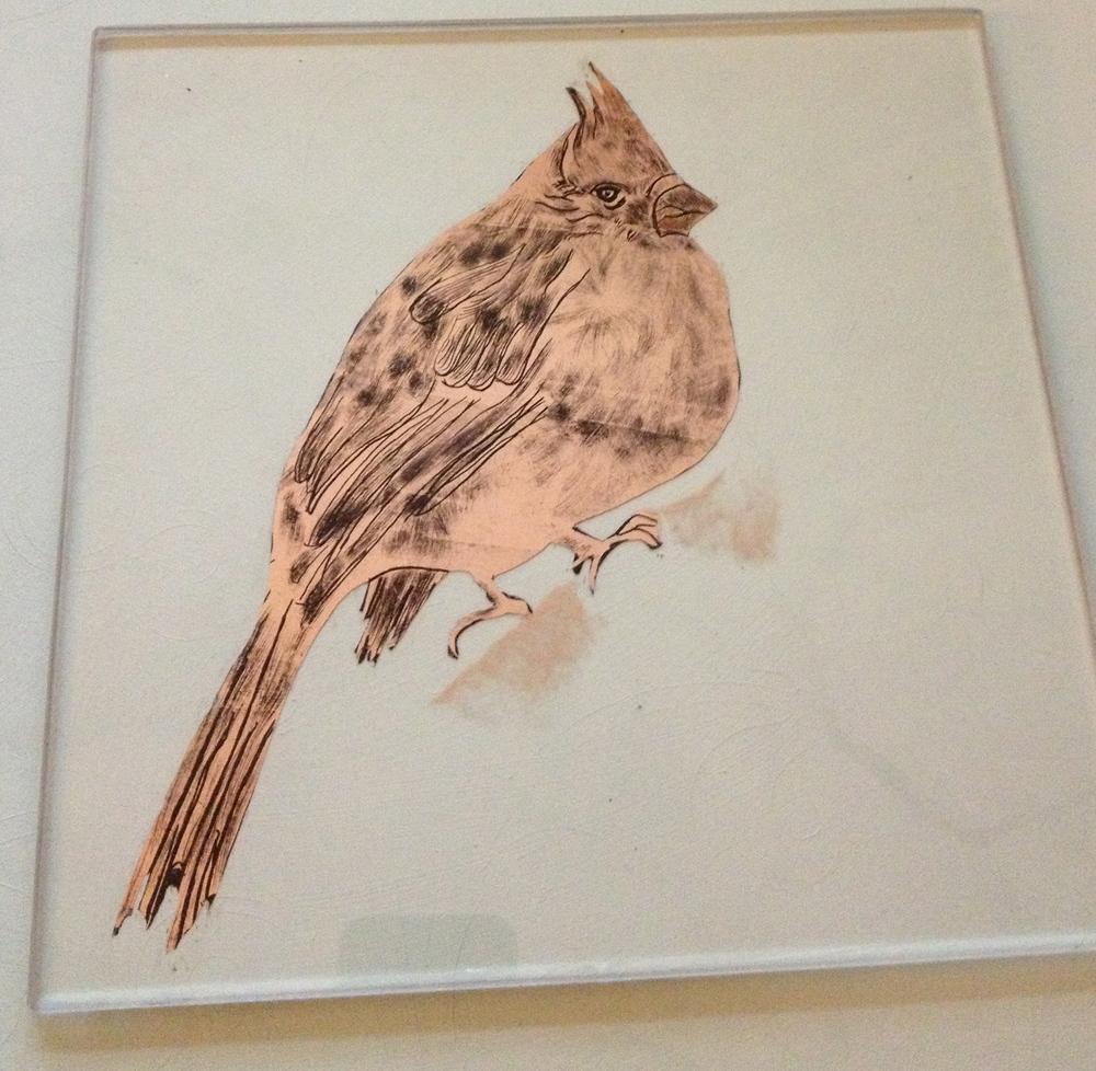 Gilded Bird on White