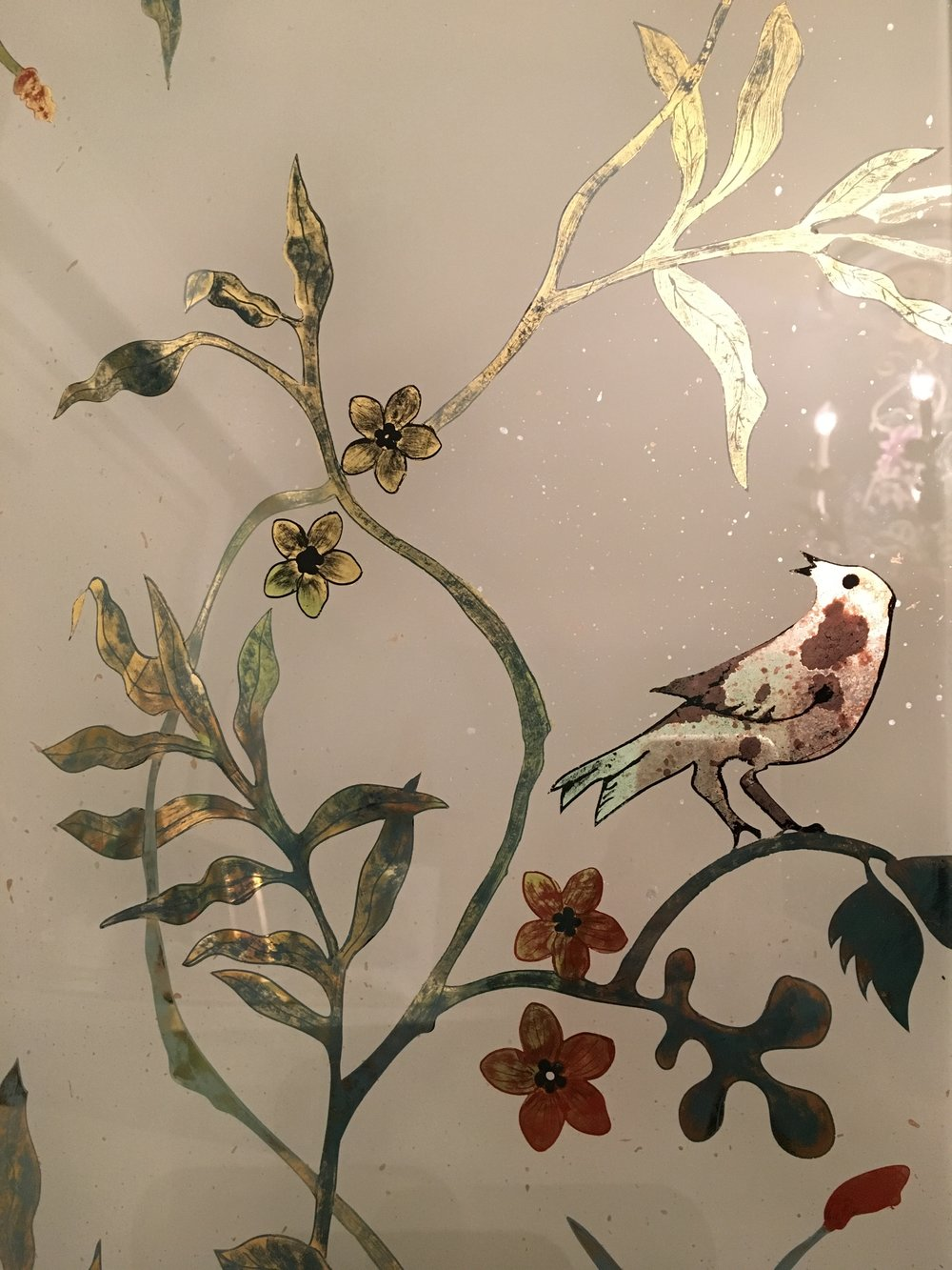 Verre eglomisé sample for a backsplash project.   Water gilded with 22k yellow gold and hand painting.