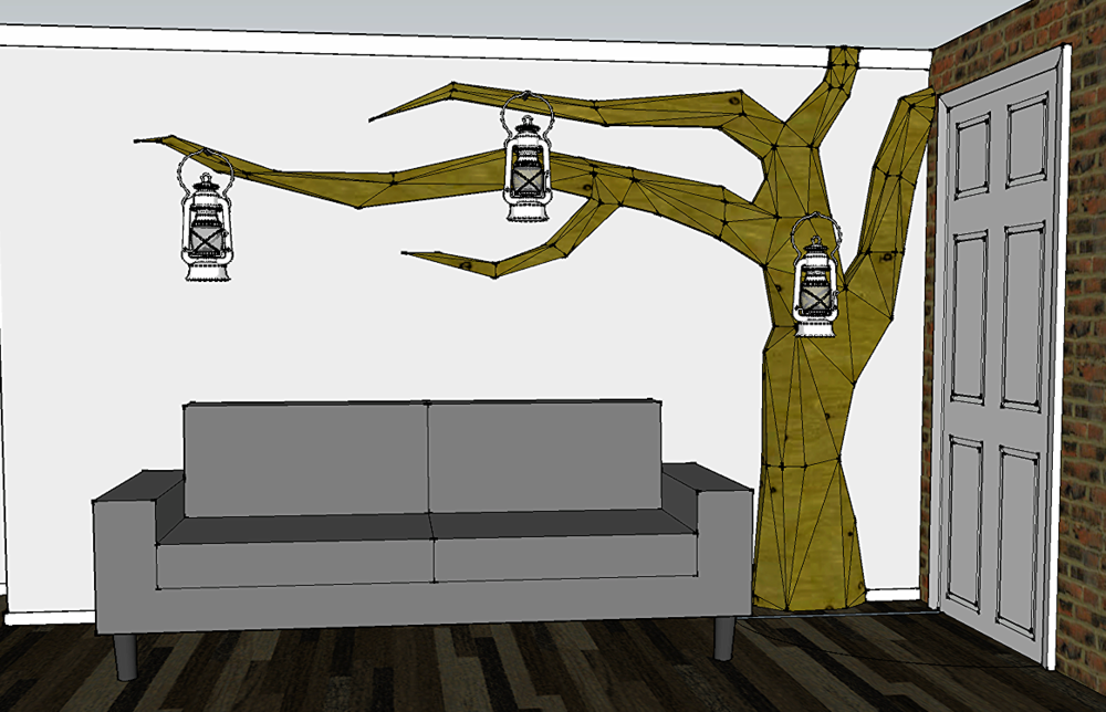Rendering of the 'indoor tree' in the space.