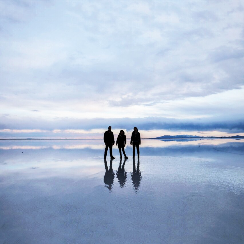 Max ,  Alison  and I at the  Bonneville Salt Flats  at sunset.