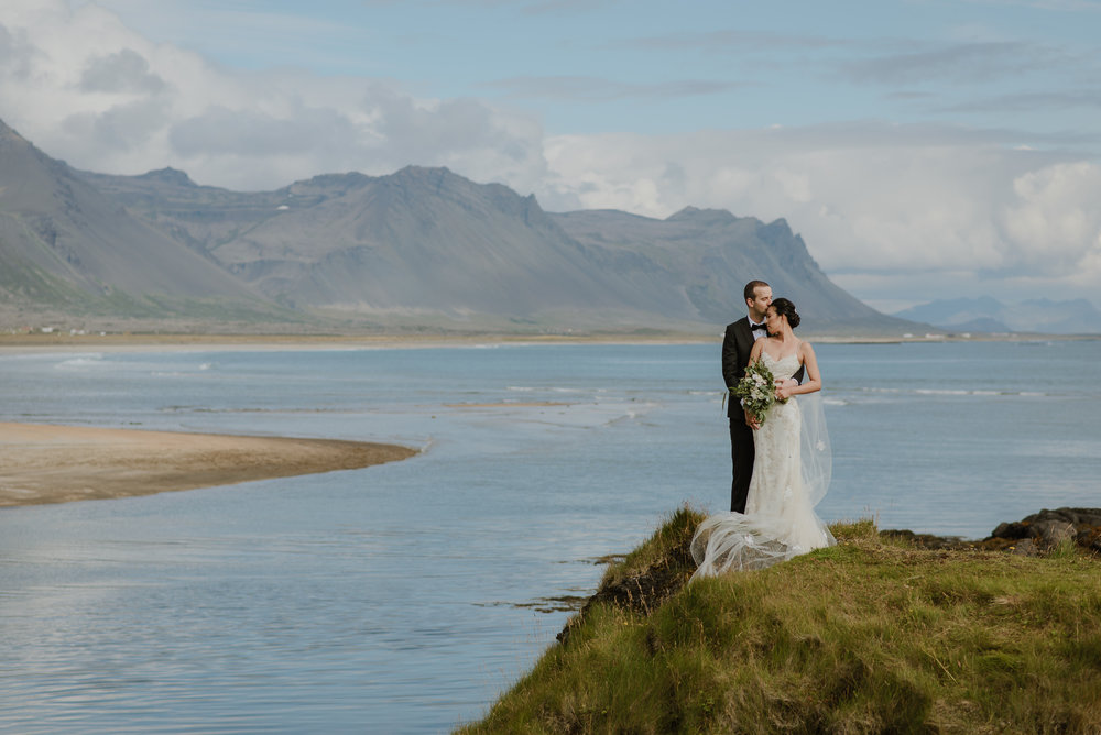 Vivian & Dragos on their wedding day on the Snaefellsnell Peninsula