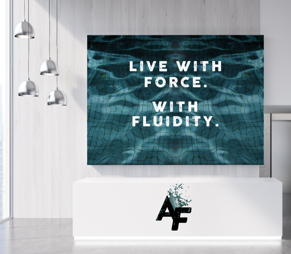 Glimpse into signage and the front desk