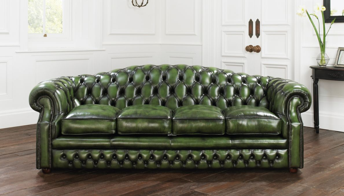 Charming Money Green Leather Sofa ($W)