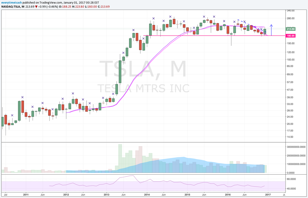 TSLA has been consolidating on a monthly basis.