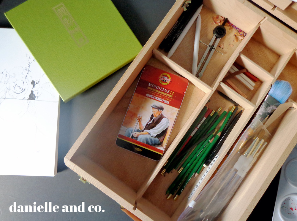 Art supplies in a portable art sketch box and easel.