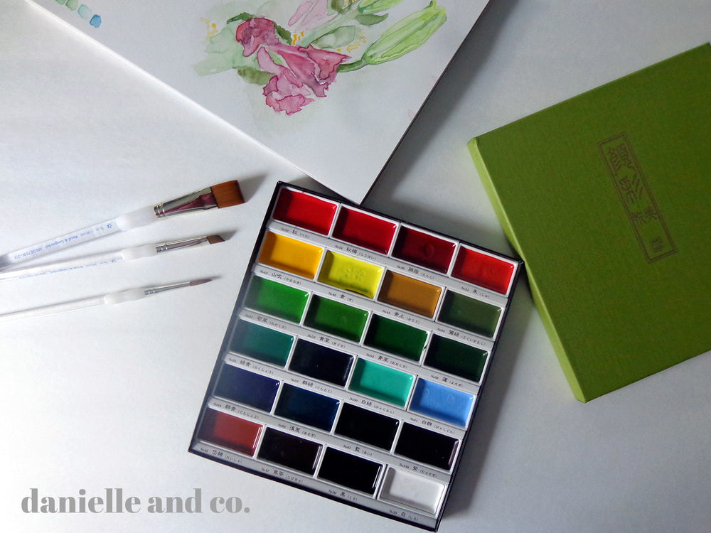 Art supplies for watercolor painting.