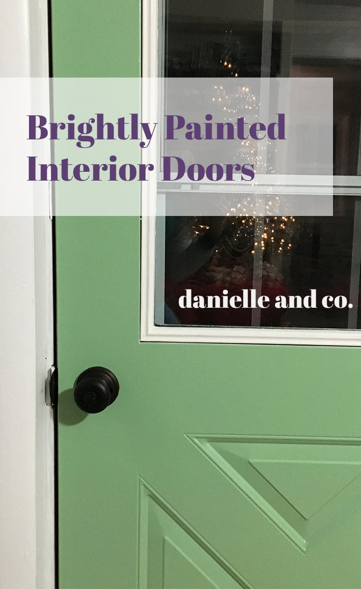 Brightly painted interior doors, via danielleandco.com.