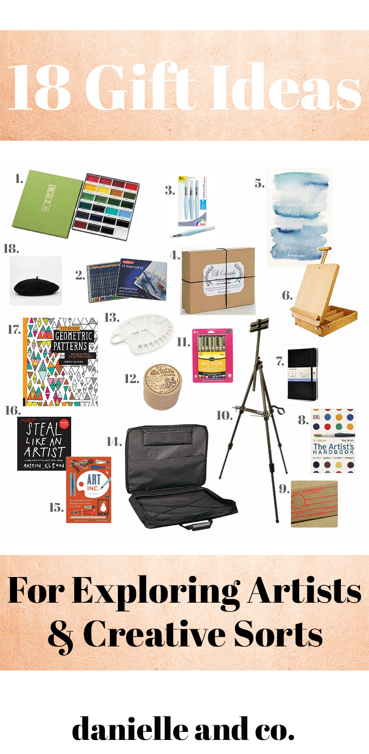 18 Gift Ideas for Exploring Artists (or Creative Sorts) from danielleandco.com - perfect for Valentine's Day gifts!