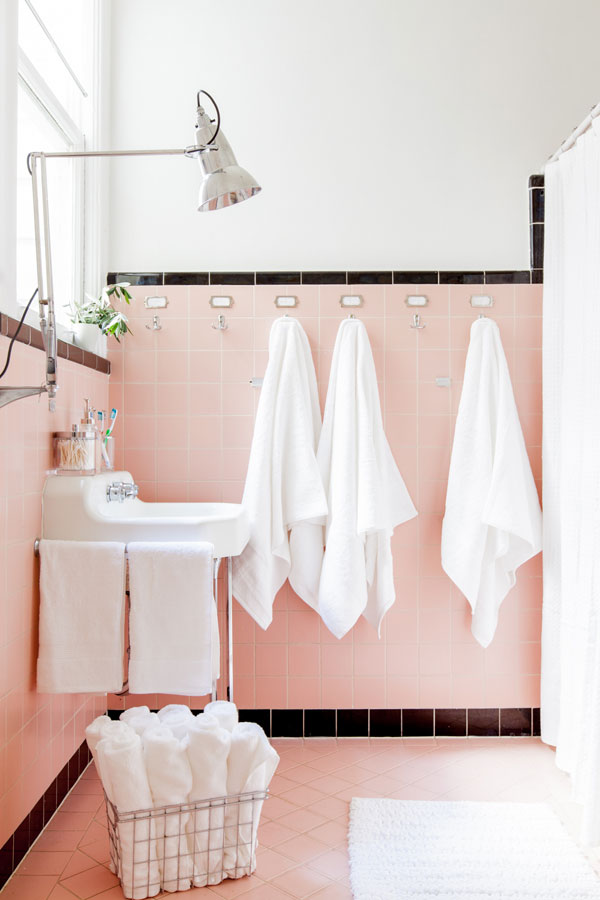 Designing around vintage pink tile to create a bright, cheerful, whimsical space! danielle and co.