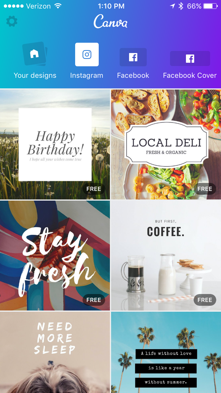 Canva has templates for a variety of social medias
