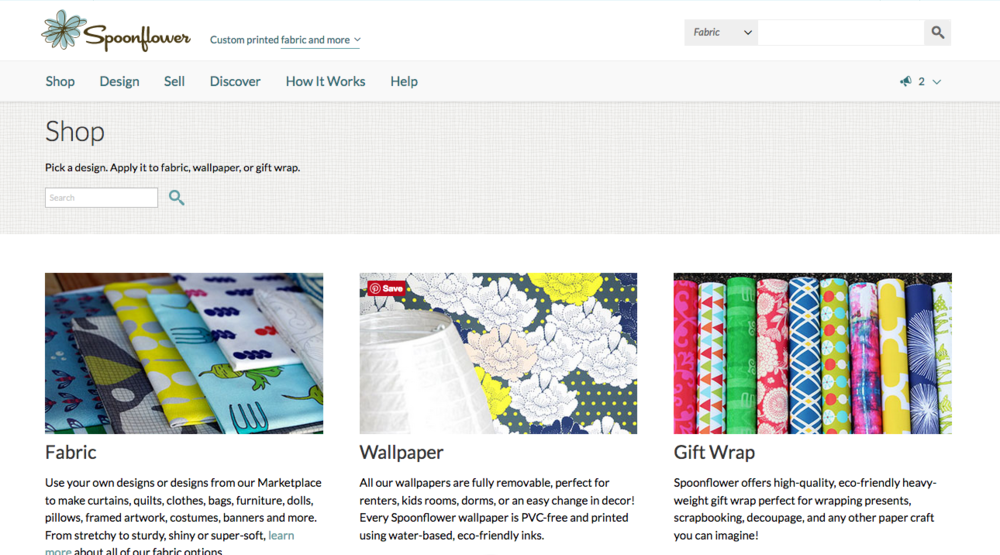 Spoonflower  has an easy-to-use interface, and offers more than just fabric.