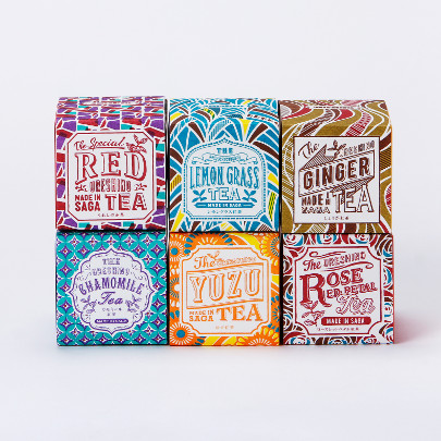 Saudade Tea packaging that is borderline psychedelic