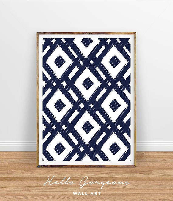 This navy pattern  is so bold and really makes a statement, from Hello Gorgeous Wall Art on Etsy