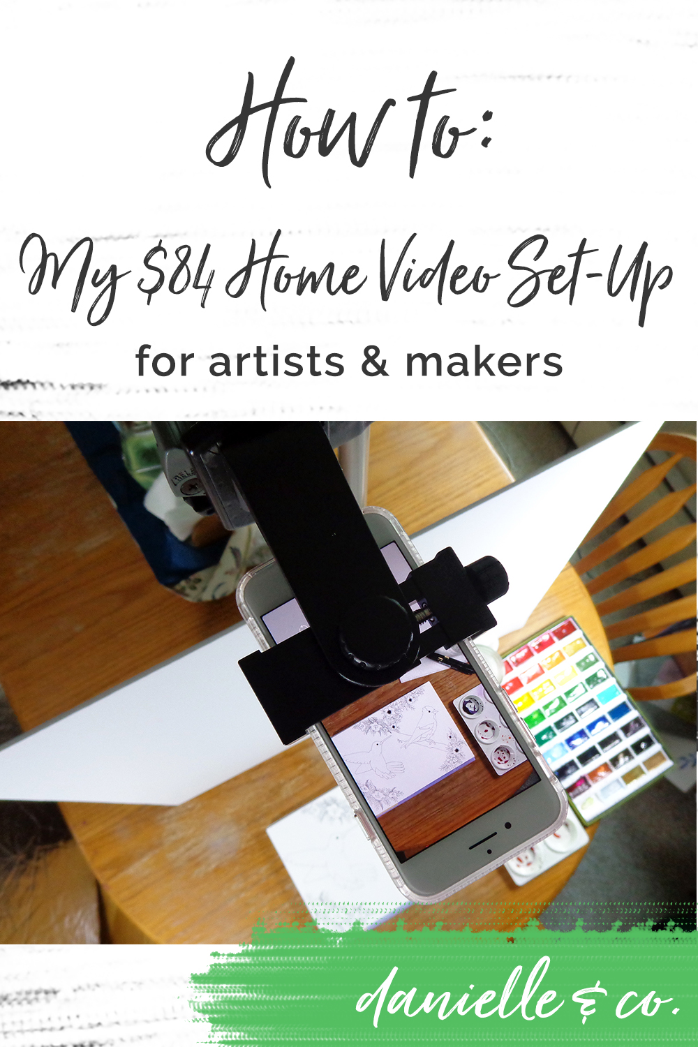 My set-up process & equipment to create process videos right at my kitchen table, for less than $84!