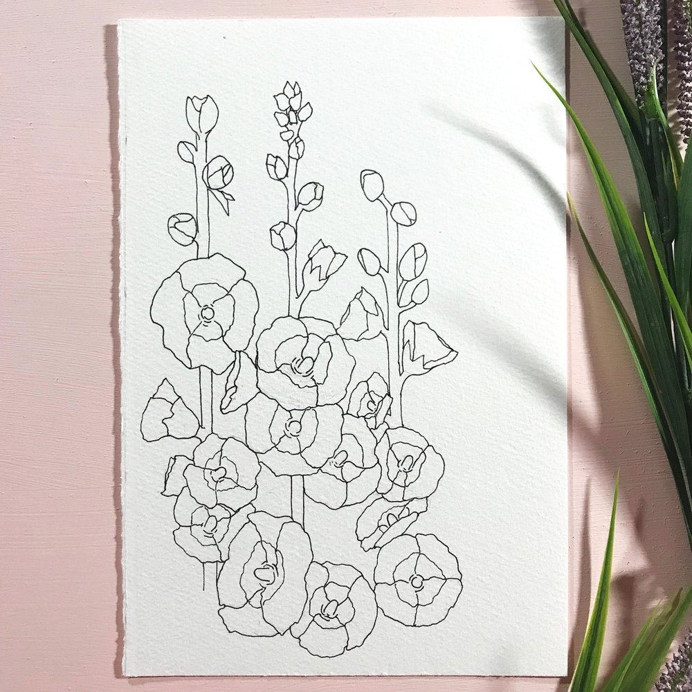 Hollyhock flowers drawn on Fabriano Cold Press paper, by danielleandco.com