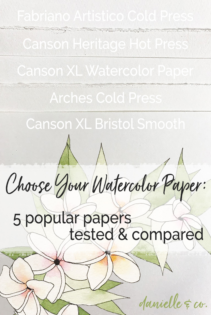 Never let the wrong supplies stand in the way of watercolor magic! Choosing the right paper is important. Five widely available watercolor papers are tested & compared at danielleandco.com