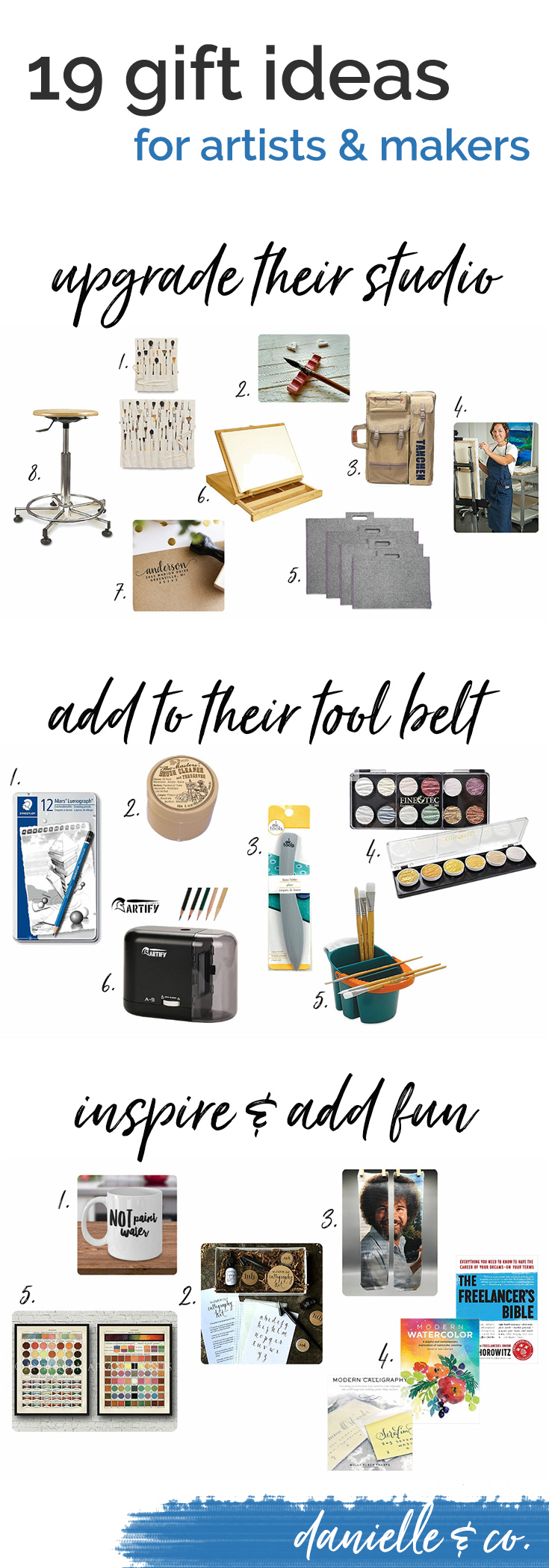 Gift ideas for artists & makers; how to add to their tool belt, upgrade their studio, inspire and add some fun this holiday season! From danielle & co.