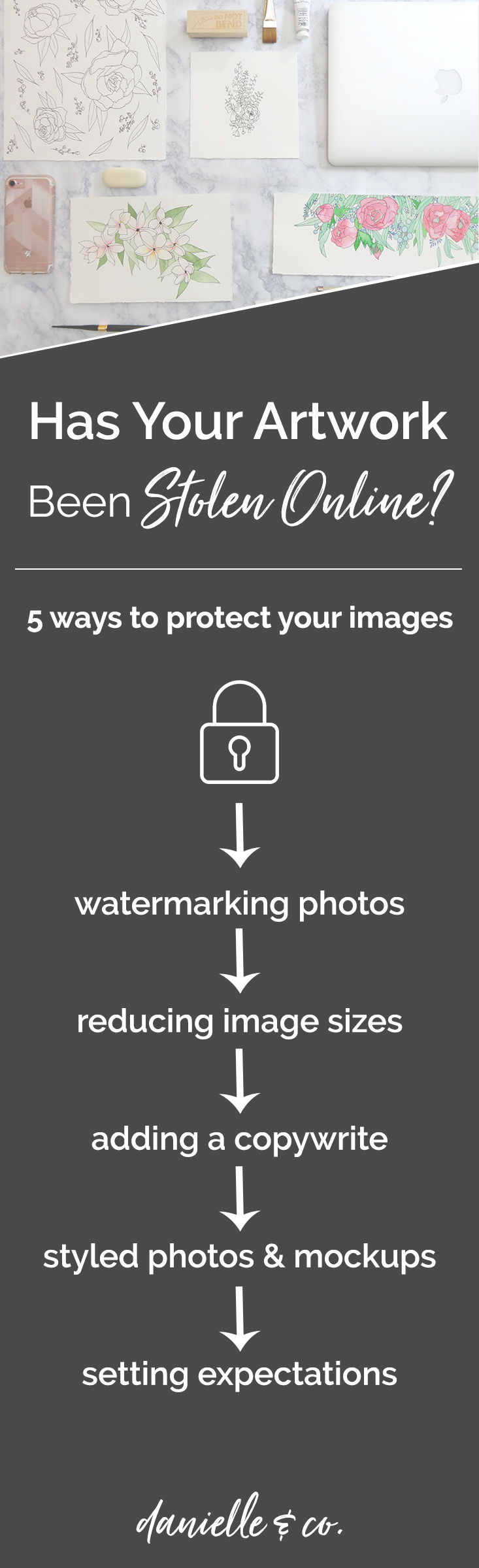 Are your photographs and art images at risk of being stolen online? Check out these five strategies for protecting your images on danielleandco.com + a video tutorial on two ways to easily add a watermark to your photos!