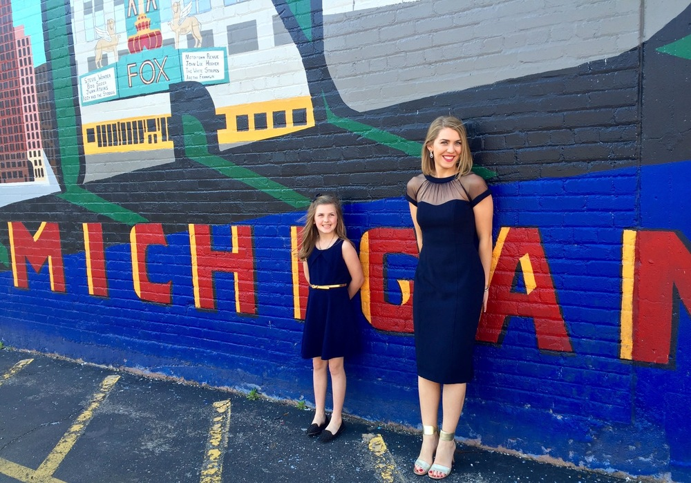 We had to do a style shoot together since we were matching in classic navy dresses!