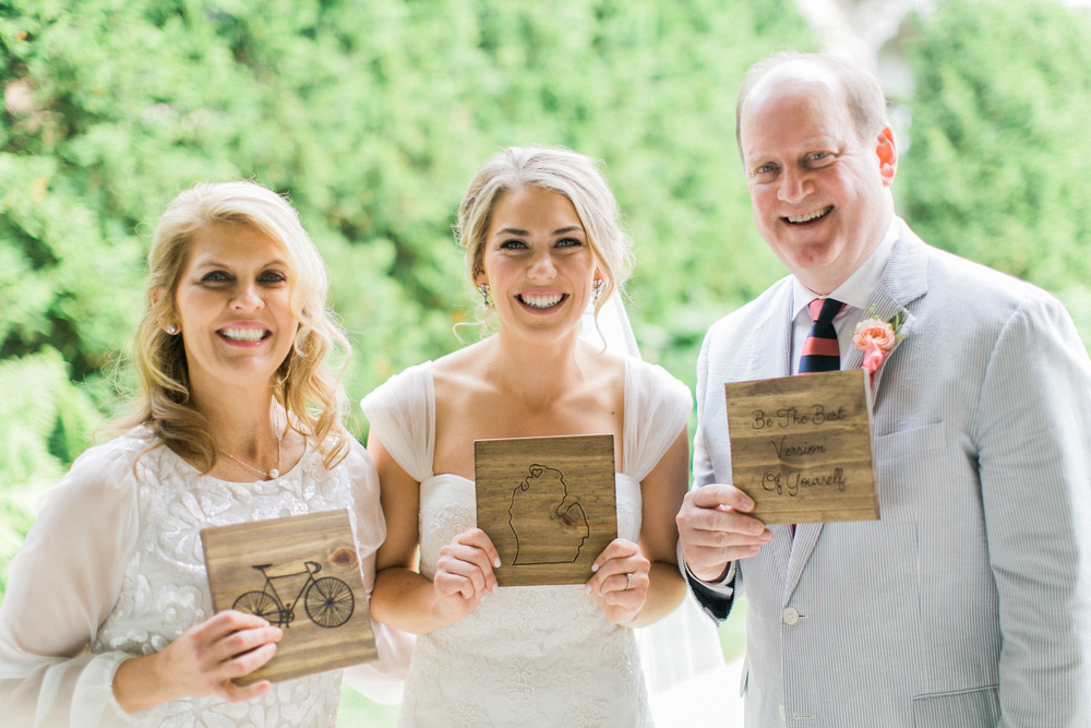 "For my wedding, I gifted my parents with three plaques made of Michigan wood, the third reading, ""Be the Best Version of Yourself."""