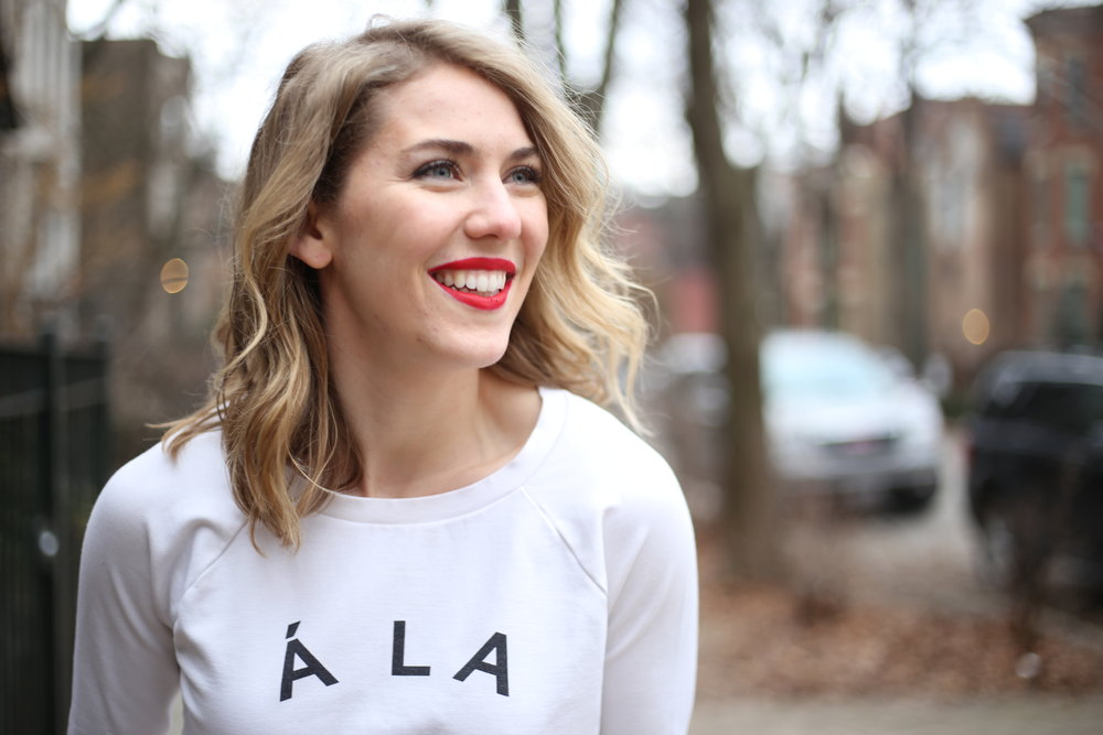 My favorite part: a red lip brings out my eyes + brightens my smile—just like Mom