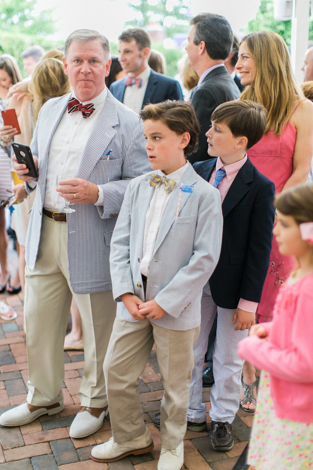 How cute is my uncle Mark matching his son, my cousin, August?! Seersucker sport coat, bowtie, khakis, white bucks. Precious.