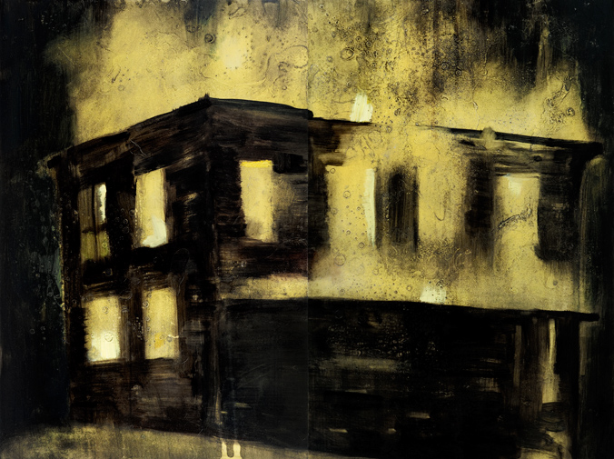 """Real Estate,"" Oil and spraypaint on steel, 2011"