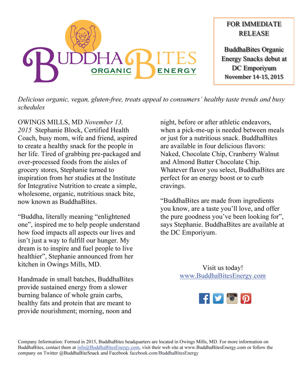 Buddhabites Press Release Nov 2015 Click The Image For A Pdf Version Here To Download