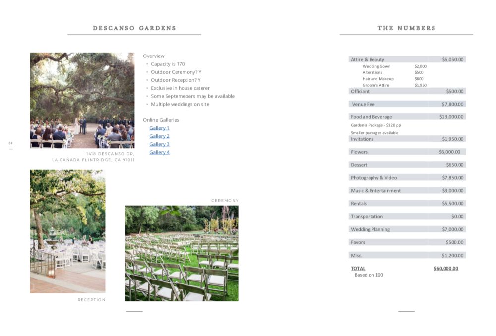 sample venue option that matches my clients needs