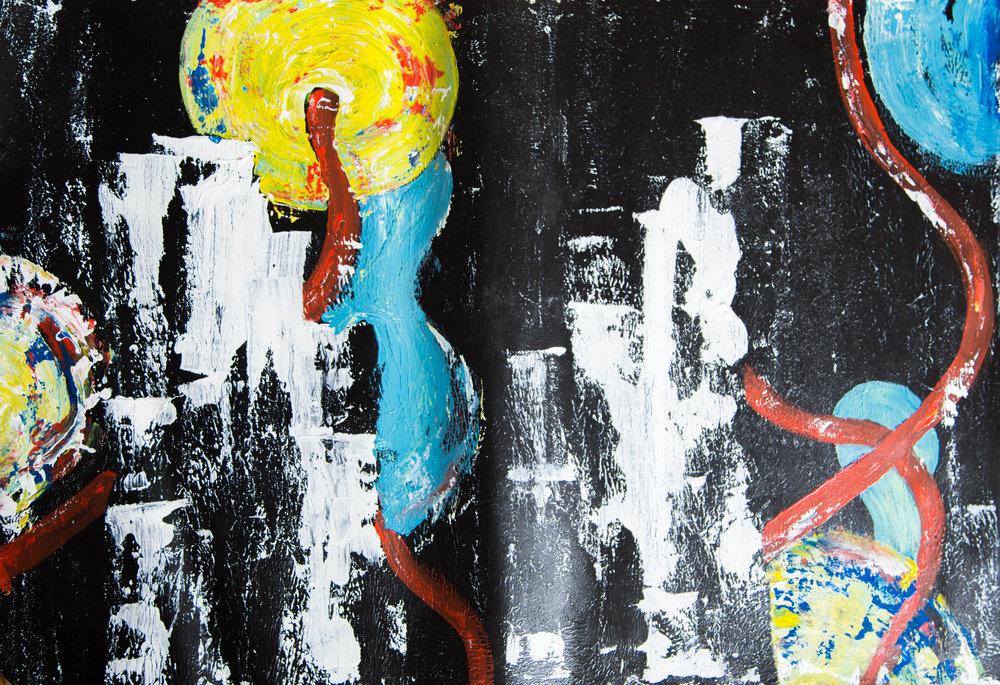 """Hope, Neo Nineties, New York, 2016, acrylics on paper, 34x19"""""""
