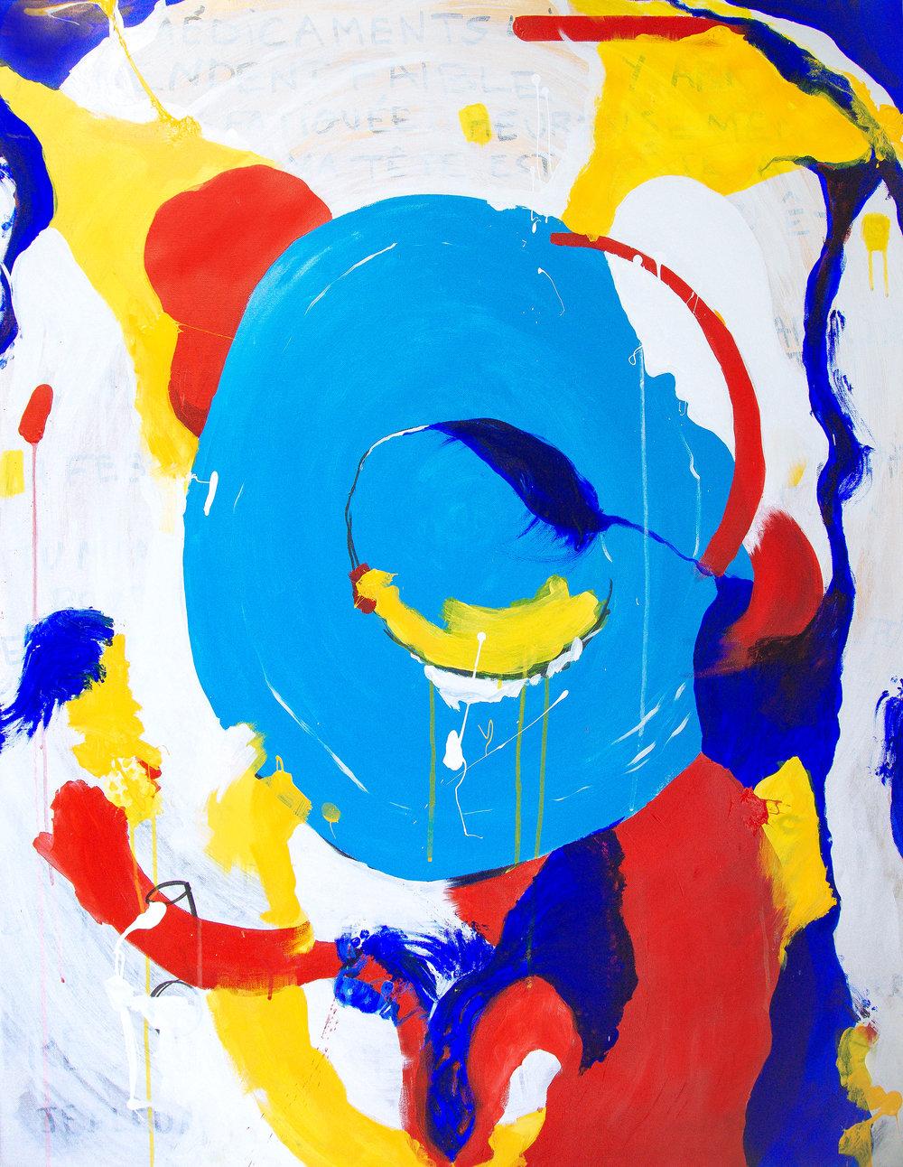"Est-ce un oeuf?, 2018, acrylics on canvas, 36x47"""