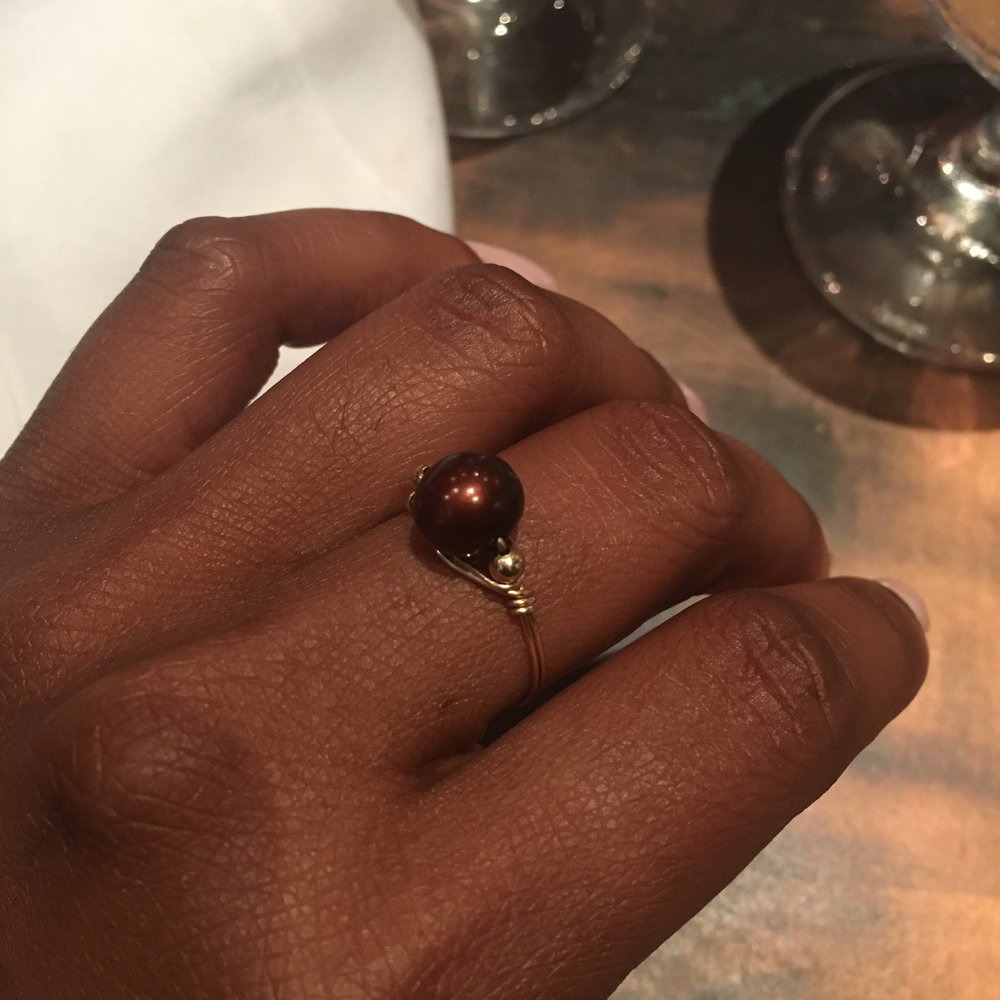 chocolate pearl ring