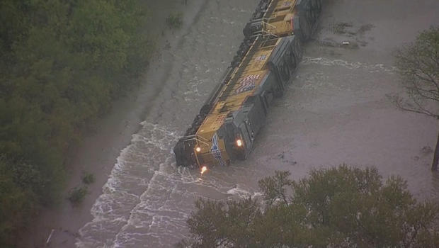 Photo of train derailed from flood waters in Corsicana, TX
