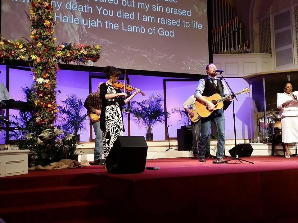Easter service worship; I'm on violin, with The Hubby playing acoustic