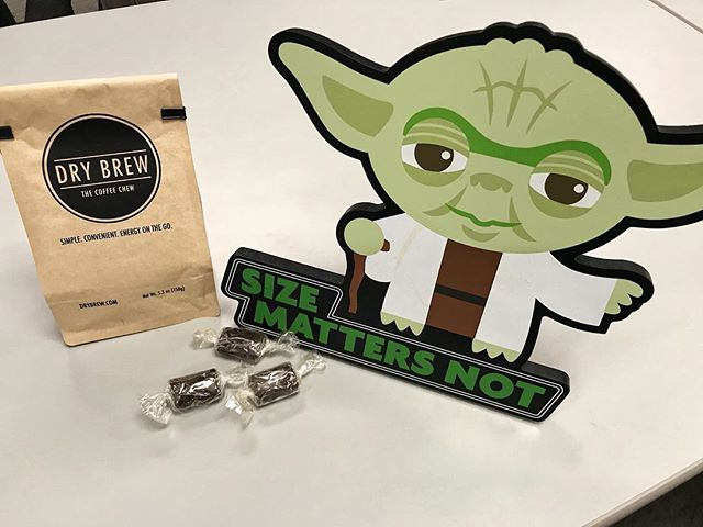 Size matters not! Get a kick out of our Drybrew today! Loaded with 65mg of real coffee condensed into a small chew to get you through your busy day! . . . . . . #drybrew #coffeechew #chewablecoffee #coffeethoughts #convenient #caffeine #coffeevibes #yoda #starwars