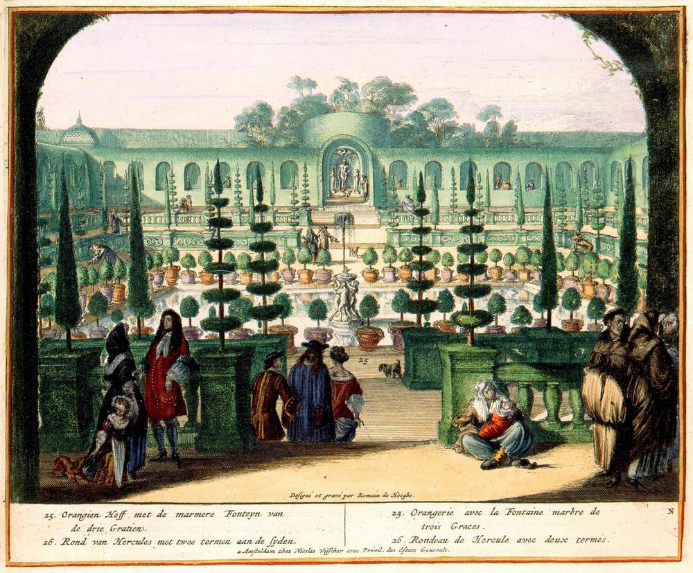 Orangerie at Chateau d'Enghien, Belgium. Etched engraving C. 1680. Romeyn de Hooghe.