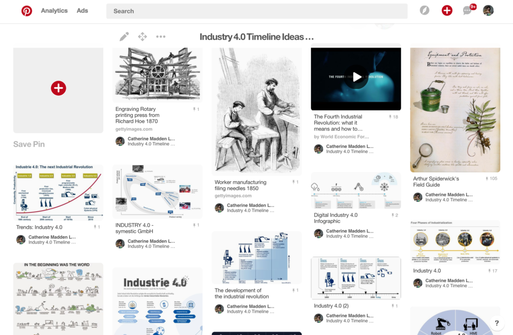 "A Pinterest board of ""Industry 4.0"" Timelines"