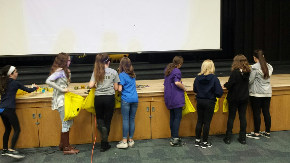 Students filling Smile Bags.