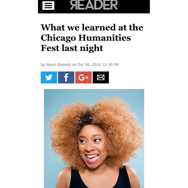 Hi. I wrote about the lovely @dopequeenpheebs & her book tour stop in Chicago, & she shared a new life secret with us all that involves the Queen herself, Oprah. Link in bio. (📸: Mindy Tucker) . . .  #chfgraphic #2dopequeens #phoeberobinson #oprah #britishbaekoff #chihumanitiesfestival #everythingstrashbutitsokay