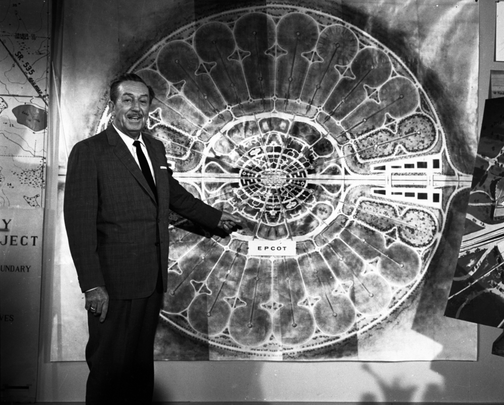 Walt Disney, presenting his vision for EPCOT - the Experimental Prototype Community of Tomorrow , in 1966
